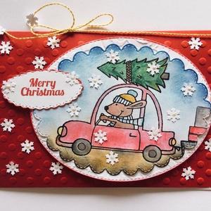 Karácsonyi képeslap, üdvözlőlap, kutya, autó, karácsonyfa, Dekoráció, Karácsonyi, adventi apróságok, Naptár, képeslap, album, Ünnepi dekoráció, Ajándékkísérő, képeslap, Papírművészet, Kutyás karácsonyi lapomat nyomdázással, tintázással, kivágással és domborítással készítettem. Méret..., Meska