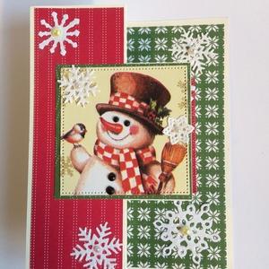 Kárácsonyi képeslap hóember, hópehely, üdvözlőlap, Karácsony, Advent, Karácsony, Otthon & lakás, Ajándékkísérő, Karácsonyi dekoráció, Naptár, képeslap, album, Papírművészet, Kihajható, karácsonyi üdvözlőlapot készítettem. Ha kinyitod, a hóember alatt belül található az üdv..., Meska