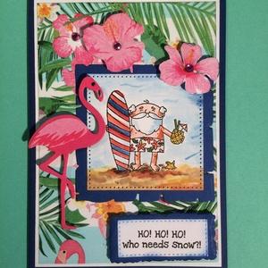 Nyári Mikulás, Télapó, Advent, Karácsony, képeslap, ajándékkísérő,humor, Karácsonyi képeslap, Karácsony & Mikulás, Otthon & Lakás, Papírművészet, Vegyes technikával (decoupage, nyomda, festés, kivágás, ragasztás) készítettem ezt a vicces képeslap..., Meska