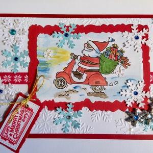 Motoros Mikulás, Mikulás, Karácsony & Mikulás, Otthon & Lakás, Papírművészet, Vegyes technikával (nyomda, festés, kivágás, ragasztás) készítettem ezt a vicces képeslapot, mely ki..., Meska