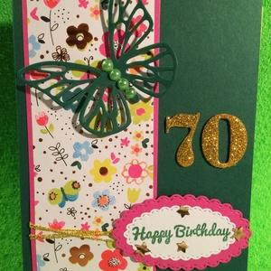 Születésnapi képeslap, pillangó, virág, , Képeslap & Levélpapír, Papír írószer, Otthon & Lakás, Papírművészet, Kézzel készítettem ezt az egyedi születésnapi képeslapot. Mérete: 10,5cm x 14,8cm. Borítékkal adom. ..., Meska