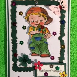 Születésnapi képeslap, Képeslap & Levélpapír, Papír írószer, Otthon & Lakás, Papírművészet, A kézinyomdával nyomott gyerekfigurát különféle tintákkal kifestettem, körbevágtam, keretbe foglalta..., Meska