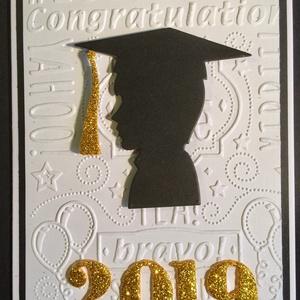Diplomaosztó, ballagás,végzős  üdvözlőlap, pénzátadó, képeslap, Naptár, képeslap, album, Képeslap, levélpapír, Papírművészet, Domborítással, kivágással készítettem képeslapomat diplomaosztóra, ballagásra, iskola befejezésére...., Meska