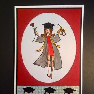 Diplomaosztó, ballagás,végzős üdvözlőlap, pénzátadó, képeslap, Képeslap & Levélpapír, Papír írószer, Otthon & Lakás, Papírművészet, Kivágással, kézi nyomdával, festéssel, ragasztással készült üdvözlőlap. Mérete: 11,5cmx16cm. Kinyith..., Meska
