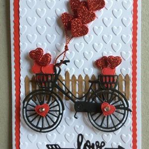 Szerelmes képeslap 8. bicikli, szív 3D Valentin nap, szerelem, Egyéb, Naptár, képeslap, album, Otthon & lakás, Képeslap, levélpapír, Szerelmeseknek, Ünnepi dekoráció, Dekoráció, Mindenmás, Papírművészet, Kivágással, domborítással  készítettem ezt a  kinyitható üdvözlőlapot szerelmeseknek. Becsukva 10,5 ..., Meska