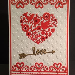 Szerelmes, Valentin napi képeslap, szív, madár, virág, Képeslap & Levélpapír, Papír írószer, Otthon & Lakás, Papírművészet, Kivágással, domborítással készítettem e lapot. Kinyitható, írhatsz bele. Mérete: 10,5cmx15cm. Boríté..., Meska