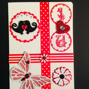 Szerelmes, Valentin napi képeslap, szív, madár, virág, pillangó (Mimizuku) - Meska.hu