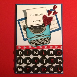 Retro, Valentin napi, szerelmes képeslap, írógép, szív, szerelem, love, 3D-s, Képeslap & Levélpapír, Papír írószer, Otthon & Lakás, Papírművészet, 3D-s szerelmes képeslapomon kedvenc retro írógépemet használtam az üzenet közvetítésére. Kinyitható,..., Meska