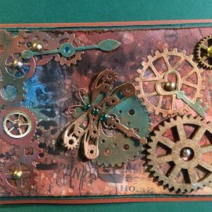 Steampunk képeslap, fogaskerék, kulcs, óra,, Képeslap & Levélpapír, Papír írószer, Otthon & Lakás, Papírművészet, Ezúttal férfias, steampunk képeslapot alkottam, amely bármilyen alkalomra adható. Kinyitható, írhats..., Meska