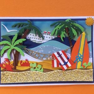 Irány a tenger! Képeslap, nyár, nyaralás,strand, beach - Meska.hu