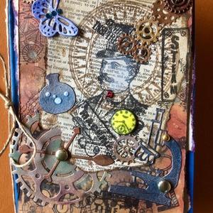 Steampunk képeslap,  férfi, tudós, tudomány, fogaskerék, óra, idő, Férfiaknak, Steampunk ajándékok, Otthon & lakás, Naptár, képeslap, album, Papírművészet, Steampunk képeslapot készítettem vegyes technikával. Kivágtam, ragasztottam, téptem, tűztem stb.Mére..., Meska