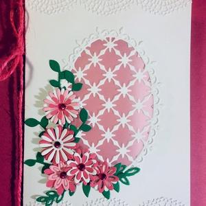Rózsaszín virágok,pedagógus nap, születésnap, névnap, anyák napja, virág, Képeslap & Levélpapír, Papír írószer, Otthon & Lakás, Papírművészet, Igazán nőies képeslapot készítettem. Középen pergamenpapírral tettem kissé sejtelmessé az üdvözlőlap..., Meska