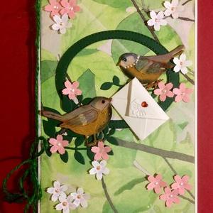 Szerelmes képeslap, madár, erdő, levél, szerelem, évforduló, Képeslap & Levélpapír, Papír írószer, Otthon & Lakás, Papírművészet, Szerelmes képeslapot készítettem évfordulóra. Mérete:16,5x11,5cm. Kinyitható, bele még lehet írni. A..., Meska