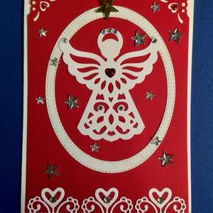 Angyal képeslap, Karácsony , Advent, Karácsonyi képeslap, Karácsony & Mikulás, Papírművészet, Formalyukasztásos technikával készítettem e képeslapomat. Strasszokkal díszítettem. Kinyitható, bele..., Meska