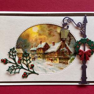 Karácsonyi képeslap, vintage, üdvözlőlap, téli táj fenyőfa, hó, havas táj, Karácsonyi képeslap, Karácsony & Mikulás, Otthon & Lakás, Papírművészet, Régi képeslap szolgált alapjául ennek az üdvözlőlapnak, melyet újra felhasználtam. Kinyitható, bele ..., Meska
