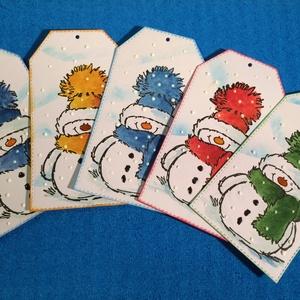Hóember ajándékkísérő , Karácsony , Advent, tél, hó, Otthon & lakás, Naptár, képeslap, album, Ajándékkísérő, Karácsony, Ajándékkísérő, Papírművészet, 5 db-os hóemberes ajándékkísérő szettet készítettem, kézi nyomdával, kézzel festettem. Természetesen..., Meska