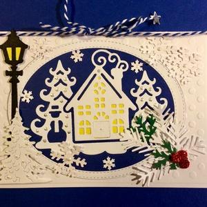 """Karácsonyi képeslap\""""Téli táj\"""", Karácsony, Advent, Új Év, hó, havazás, hópehely, Otthon & lakás, Naptár, képeslap, album, Képeslap, levélpapír, Karácsony, Ajándékkísérő, Karácsonyi dekoráció, Papírművészet, Kézzel készített egyedi képeslapom több rétegű. Domborítással, formalyukasztással alkottam. Mérete: ..., Meska"""