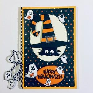 Halloween képeslap szellem, cica, kalap, Képeslap & Levélpapír, Papír írószer, Otthon & Lakás, Papírművészet, Kinyitható, egyedi 3-D-s Halloween képeslapot készítettem, lyukasztással,kézi nyomdával,ragasztással..., Meska