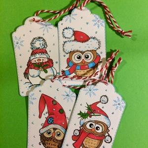 Karácsonyi ajándékkísérő, bagoly, hóember, Karácsony, Mikulás , Advent, Otthon & lakás, Naptár, képeslap, album, Ajándékkísérő, Karácsony, Ajándékkísérő, Papírművészet, Kézinyomdával, formalyukasztással, festéssel , tintázással készítettem ajándékkísérőimet.\nMéretük: 8..., Meska