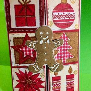 Mézeskalácsfiú karácsonyi képeslap, üdvözlőlap,Karácsony, Advent, Mikulás, Otthon & Lakás, Karácsony & Mikulás, Karácsonyi képeslap, Papírművészet, Karácsonyi mintás szalvétából decoupage technikával készítettem a képeslapomat.\nKözépen nyílik, kéto..., Meska