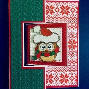 Karácsonyi Újévi képeslap, bagoly, Mikulás, hóember, télapó, Karácsonyi képeslap, Karácsony & Mikulás, Papírművészet, Karácsonyi- újévi képeslapom középső díszítménye átfordul, ha meghúzod az oldalát és megjelenik az ü..., Meska