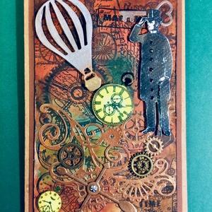 Steampunk képeslap, fogaskerék, óra, léghajó, gép,kulcs 3D, Férfiaknak, Steampunk ajándékok, Otthon & lakás, Naptár, képeslap, album, Képeslap, levélpapír, Papírművészet, Egyedi steampunk képeslapot alkottam, amely bármilyen alkalomra adható. Kinyitható, a benne lévő zse..., Meska
