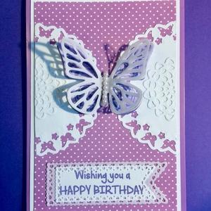 Születésnapi, névnapi stb. képeslap, pillangó, Képeslap & Levélpapír, Papír írószer, Otthon & Lakás, Papírművészet, 3D-s képeslapot készítettem, lyukasztásos, ragasztásos technikával. A pillangó szárnyait kartonból é..., Meska