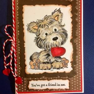 Szeretet képeslap, kutya, szerelem, szeretet, Valentin nap, Képeslap & Levélpapír, Papír írószer, Otthon & Lakás, Papírművészet, Kézi nyomdával nyomtam, kézzel festettem a kutyust, kivágással , ragasztással alkottam meg a képesla..., Meska
