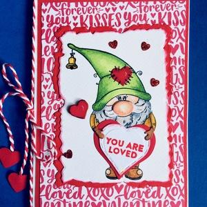 \'Manó szerelem\',szerelmes, Valentin napi képeslap, szerelem, love, törpe, szív, Képeslap & Levélpapír, Papír írószer, Otthon & Lakás, Papírművészet, Kézi nyomdás, formalyukasztásos, kézi festéses technikával készítettem egyedi szerelmes képeslapomat..., Meska