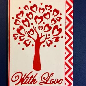 Szerelmes, Valentin napi,Szeretettel képeslap, szív, fa, Otthon & lakás, Naptár, képeslap, album, Ajándékkísérő, Képeslap, levélpapír, Papírművészet, Formalyukasztásos technikával készítettem szerelmes képeslapomat. Kinyitható, írhatsz bele. Mérete:1..., Meska