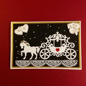 Esküvői lovas hintó képeslap,meghívó, ajándékkísérő, köszönő lap, esküvő, házasságkötés, hintó, ló, lakodalom, Otthon & lakás, Naptár, képeslap, album, Képeslap, levélpapír, Esküvő, Meghívó, ültetőkártya, köszönőajándék, Papírművészet, Esküvői lovas hintós képeslapom 11x16cm méretű, kinyitható, belülre bármilyen jókívánság külön lapra..., Meska
