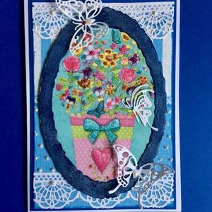 Virágos, pillangós képeslap, Otthon & Lakás, Papír írószer, Képeslap & Levélpapír, Decoupage, transzfer és szalvétatechnika, Papírművészet, Vegyes technikával készítettem ezt a képeslapot: decoupage, formalyukasztás, meleg domborítás. A dís..., Meska