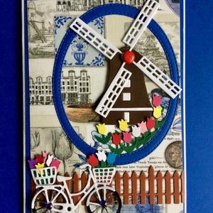 """""""Szélmalom képeslap"""", tulipán, bicikli, virág, Hollandia, Képeslap & Levélpapír, Papír írószer, Otthon & Lakás, Papírművészet, Decoupage, transzfer és szalvétatechnika, Bármilyen alkalomra adható szélmalmos, tulipános, biciklis képeslapom mérete 10,5cm x15cm. Kinyithat..., Meska"""