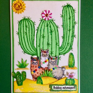 Láma képeslap, láma, kaktusz, Mexikó, alpaka, sivatag (Mimizuku) - Meska.hu