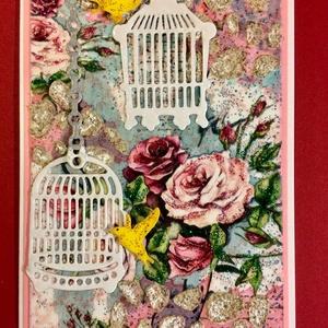 Rózsás-kalitkás vintage képeslap, rózsa, kalitka, madár,, Képeslap & Levélpapír, Papír írószer, Otthon & Lakás, Decoupage, transzfer és szalvétatechnika, Papírművészet, Vegyes technikákkal készítettem el ezt a romantikus rózsás-kalitkás vintage képeslapot. Van ebben mi..., Meska