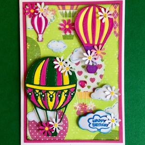 Léghajó képeslap, hőlégballon, léghajó, légballon,léggömb,hőléggömb, virág, felhő, születésnap, névnap, ballagás, , Képeslap & Levélpapír, Papír írószer, Otthon & Lakás, Papírművészet, Decoupage, transzfer és szalvétatechnika, Vegyes technikával készítettem léghajós képeslapomat: decoupage, kivágás, formalyukasztás, tintázás...., Meska