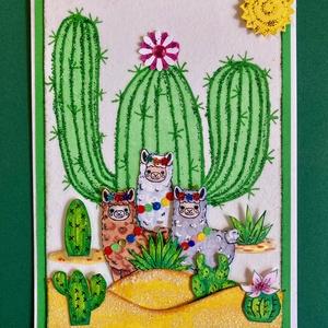 Láma képeslap, láma, kaktusz, Mexikó, alpaka, sivatag, Otthon & Lakás, Papír írószer, Képeslap & Levélpapír, Decoupage, transzfer és szalvétatechnika, Papírművészet, Kedves megrendelőm kérésére alkottam meg ezt a vidám lámás képeslapot. Rám bízta, hogy milyen legyen..., Meska