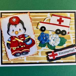 """""""Köszönet a mentősöknek!"""" képeslap,Covid-19, vírus, járvány, betegség, pandemia, karantén, világjárvány, mentős, , Képeslap & Levélpapír, Papír írószer, Otthon & Lakás, Papírművészet,  A képeslap kinyitható, írhatsz bele saját köszönetet, üzenetet, jókívánságot mentőorvosoknak,- ápol..., Meska"""