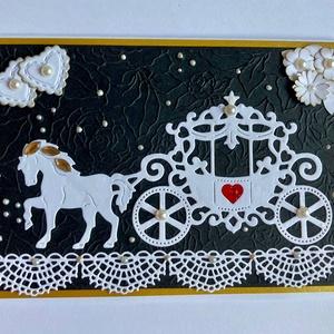 Esküvői lovas hintó képeslap,meghívó, ajándékkísérő, köszönő lap, esküvő, házasságkötés, hintó, ló, lakodalom, Képeslap & Levélpapír, Papír írószer, Otthon & Lakás, Papírművészet, Esküvői lovas hintós képeslapom 11x16cm méretű, kinyitható, belülre bármilyen jókívánság külön lapra..., Meska