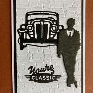 Autós képeslap férfiaknak bármilyen alkalomra, Képeslap & Levélpapír, Papír írószer, Otthon & Lakás, Papírművészet, Bármilyen alkalomra adható képeslapot készítettem domborításos és formalyukasztásos technikával. Kin..., Meska