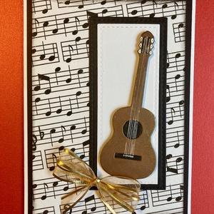 Gitár képeslap, ballagás, születésnap, évzáró, zene, zeneiskola, névnap, Képeslap & Levélpapír, Papír írószer, Otthon & Lakás, Papírművészet, Zenerajongóknak lehet átadni az általam vegyes technikával (szalvéta, lyukasztás) készített gitáros ..., Meska