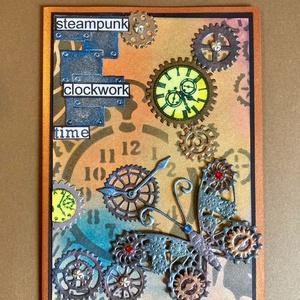 Steampunk pillangó , képeslap férfiaknak, lepke, óra, fogaskerék , gép, mechanika, Képeslap & Levélpapír, Papír írószer, Otthon & Lakás, Papírművészet, Vegyes technikával készítettem mechanikus pillangós képeslapomat.Tintáztam, stencileztem, kivágtam, ..., Meska