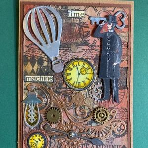 Steampunk képeslap, fogaskerék, óra, léghajó, gép,kulcs 3D, Képeslap & Levélpapír, Papír írószer, Otthon & Lakás, Papírművészet, Egyedi steampunk képeslapot alkottam, amely bármilyen alkalomra adható. Kinyitható, a benne lévő zse..., Meska
