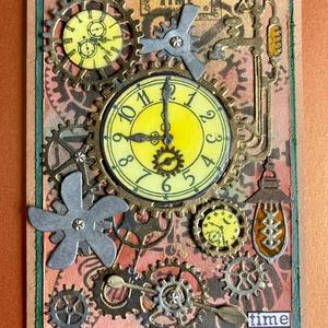 Steampunk órák képeslap, óra, fogaskerék, villanykörte, csavar, propeller, , Képeslap & Levélpapír, Papír írószer, Otthon & Lakás, Papírművészet, Ezúttal az idő van a központban, teljesen egyedi steampunk képeslapomon, melyet vegyes technikákkal ..., Meska