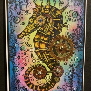 Steampunk csikóhal, tengeri csikó, tenger, óceán, fogaskerék, gép, Fogas, Bútor, Otthon & Lakás, Papírművészet, Tintázással, festéssel, kézinyomdával alkottam teljesen egyedi csikóhalas képeslapomat steampunk stí..., Meska