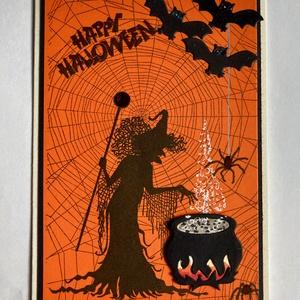 Halloween képeslap, boszorkány, denevér, pók, pókháló, Képeslap & Levélpapír, Papír írószer, Otthon & Lakás, Papírművészet, Kézi nyomdával, formalyukasztással készítettem egyedi képeslapomat. Kinyitható, írhatsz bele. Mérete..., Meska