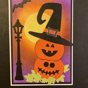 Halloween töklámpás képeslap, tök, denevér, hold, lámpa (Mimizuku) - Meska.hu