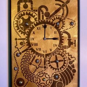Steampunk óra képeslap, Otthon & Lakás, Papír írószer, Képeslap & Levélpapír, Papírművészet, Steampunk képeslapom mérete:12cmx16,5cm. Kinyitható, írhatsz bele. Borítékkal küldöm.\nArany színű ak..., Meska