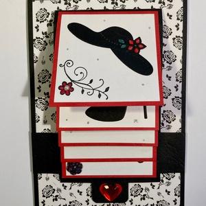 Interaktív születésnapi képeslap, kalap,cipő,táska, csésze, virág, Otthon & Lakás, Papír írószer, Képeslap & Levélpapír, Papírművészet, Hölgyeknek szántam ezt az érdekes interaktív születésnapi képeslapomat. Ún.vízeséses technikával kés..., Meska