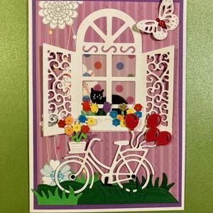 Anyák napi, születésnapi képeslap, bicikli, cica 3D, anyák napja, Otthon & Lakás, Papír írószer, Képeslap & Levélpapír, Papírművészet, Mindenmás, Lyukasztásos technikával készítettem ezt a tavaszias hangulatú képeslapot, melyet anyák napjára, szü..., Meska